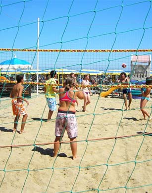 A game of beach volleyball